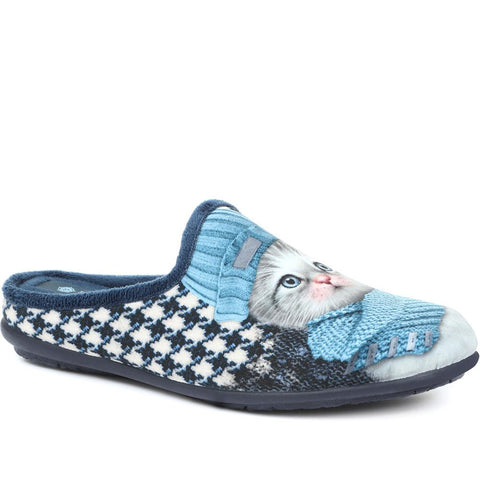 Blue Novelty Cat Slippers