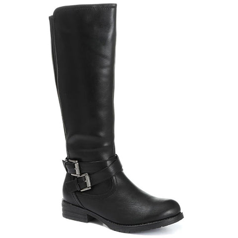 Black Casual Elasticated Knee High Boots