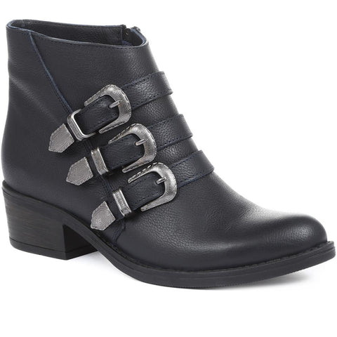 Navy Cowboy Buckle Ankle Boot