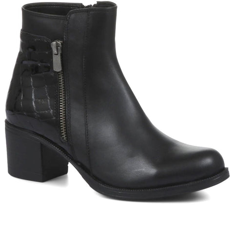 Black Leather Moc-Croc Ankle Boots