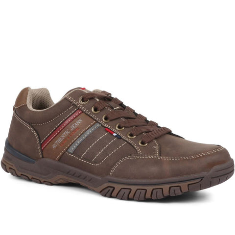 Brown Multi Wide Fit Lace-Up Trainers