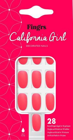 Fing'rs California Girl Matte Neon Pink False Artificial 28 Nails 14 Sizes 31222