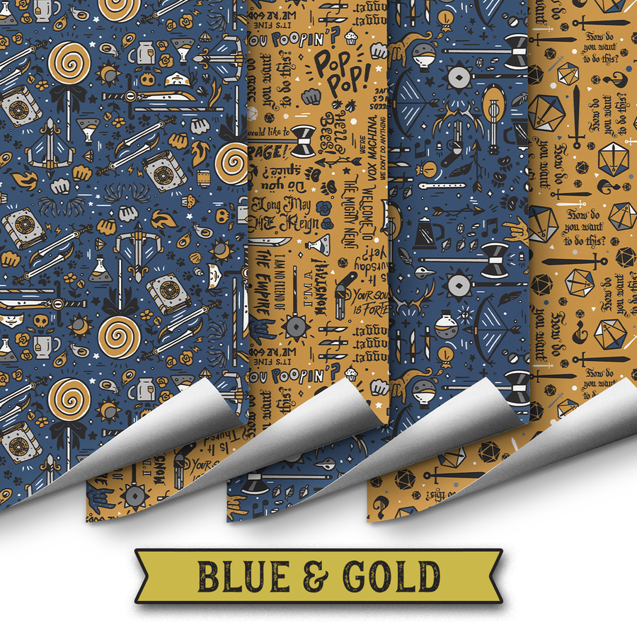 Critical Role Wrapping Paper 4 Pack: Blue & Gold