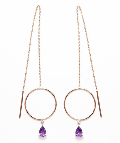 14k gold fine jewelry eiv jewelry Purple dangly Amethyst Drop  threader Earrings, Circle, Chain, Adjustable, Minimal, Josephine ethical sustainable handmade jewellery in europe dainty