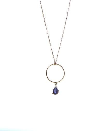 dainty, dangling stone, Playful, 14k gold fine jewelry eiv jewelry Drop charm ring, Josephine ethical sustainable handmade jewellery in europe  blue drop charm necklace iolite Minimal, Playful