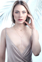 Load image into Gallery viewer, minimal eiv jewelry 14k gold lariat necklaces diamond sustainable ethical handmade in europe