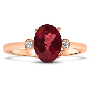 thea rhodolite 14K rose gold diamond oval faceted eiv jewelry sustainable ethical handmade jewellery