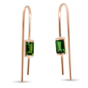 minimal, green gold earrings, baguette, rectangle, diopside, dainty