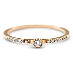 Pave Diamond Ring, Gold, Engagement, dainty, minimal