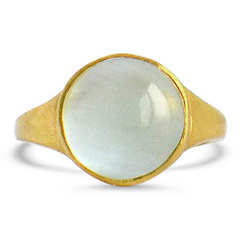 Aquamarine, silver, round, smooth-cut, ring, antique-inspired, goldplated, roman seal ring, ethical, handmade, blue topaz, signet