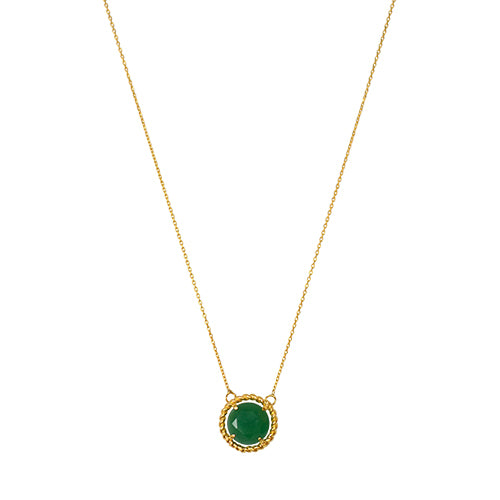 Round Jade Necklace, braided bezel, Roman inspired, Goldplated, Silver, antique style sustainable ethical handcrafted in europe eiv jewelry