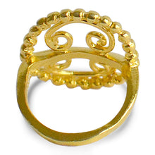 Load image into Gallery viewer, Antique Roman, Ring, Goldplated, Silver, Filigree, round shape, ball beads, bows, back view, silver, goldplated, ethical, sustainably made jewelry