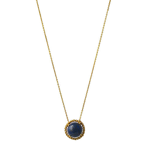 Round, Lapis Lazuli Necklace, braided bezel, Roman inspired, Goldplated, Silver, antique style handmade minimal eiv jewelry greek inspired handmade in europe