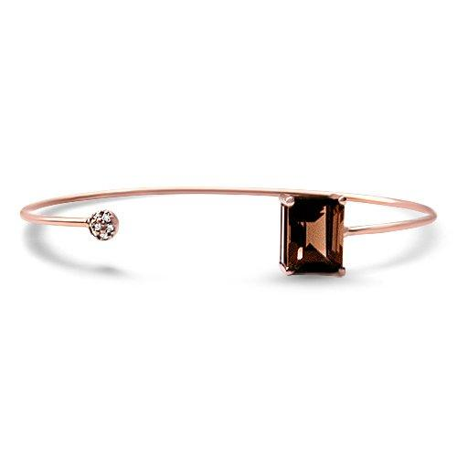 14k gold pave Diamond Smokey Topaz, Emerald cut, Gold, Bracelet, Cuff, Dainty brown gem 14k handmade in europe ethical sustainable jewellery minimal playful
