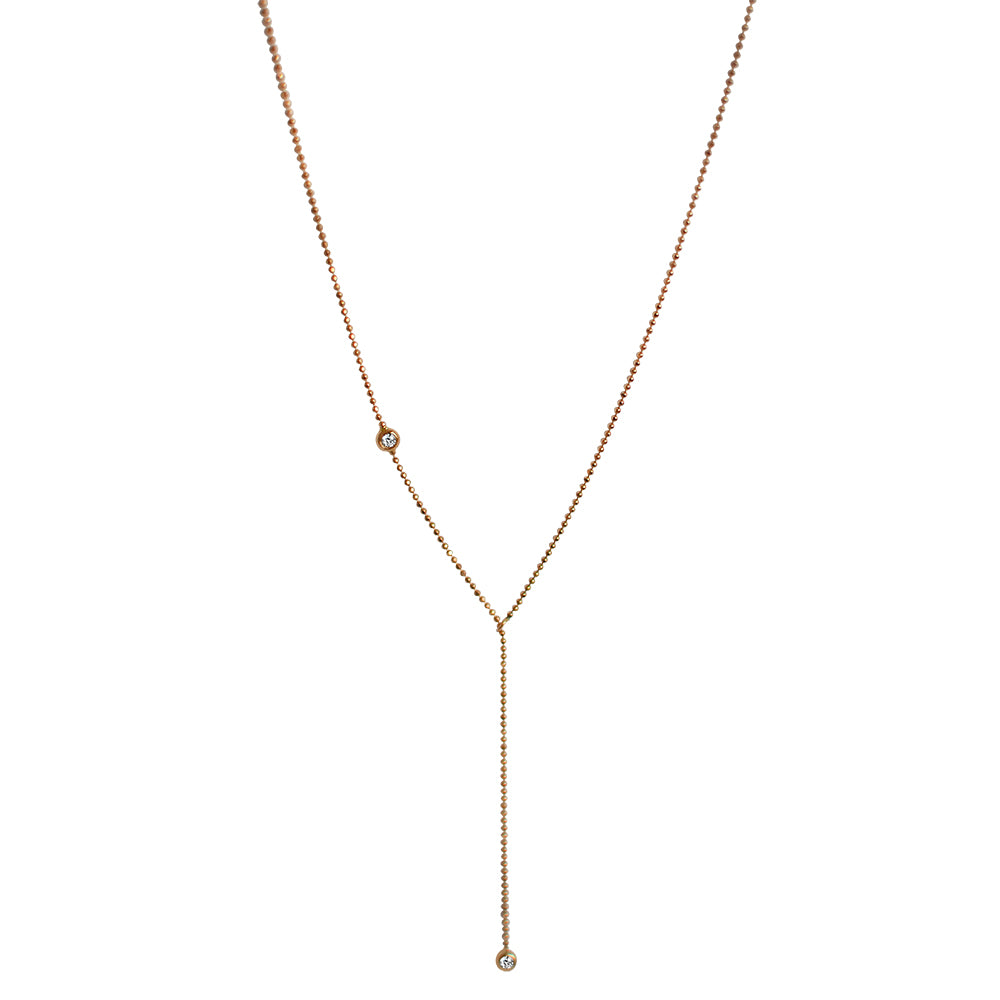 dainty-eiv-jewelry-14k-rose-gold-adjustable-necklace-lariat-sautoir-small-diamond-ethical-handmade-sustainable-ball-chain-faceted-bead-fine-jewellery-europe-minimal-stackable-layered