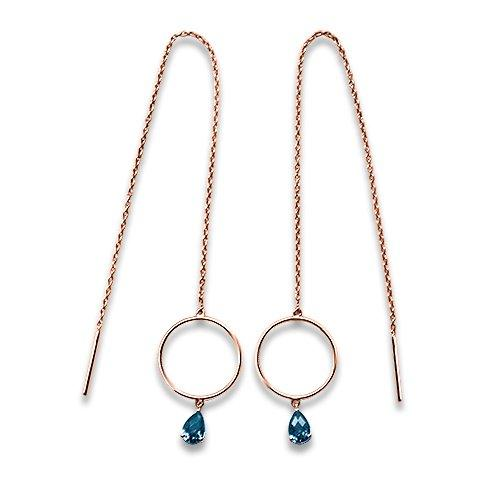 14k gold fine jewelry eiv jewelry dangly london blue topaz Drop  threader Earrings, Circle, Chain, Adjustable, Minimal, Josephine ethical sustainable handmade jewellery in europe dainty playful