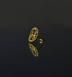 goldplated, silver, handmade, ethical, antique inspired, roman, filigree beaded, round ring, jewelry, made in europe
