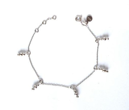 gili silver  eiv jewelry triple beaded charm bracelet demi fine jewelry minimal bohemian ancient roman greek inspired antiquity handmade ethical sustainable in europe