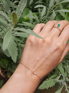minimal, green agate ring, dainty, dangling stone,  Playful, 14k gold fine jewelry eiv jewelry Drop charm ring, Josephine ethical sustainable handmade jewellery in europe dainty mini pave diamond bracelet