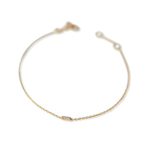 Load image into Gallery viewer, 14k gold dainty bracelet with mini pave diamond bar. Fine jewellery sustainably handmade in Europe.