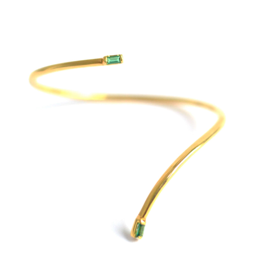 eiv jewelry green baguette cut cuff ancient roman greek contemporary ethical sustainable bracelet bangle silver goldplated demi fine jewelry emerald minimal