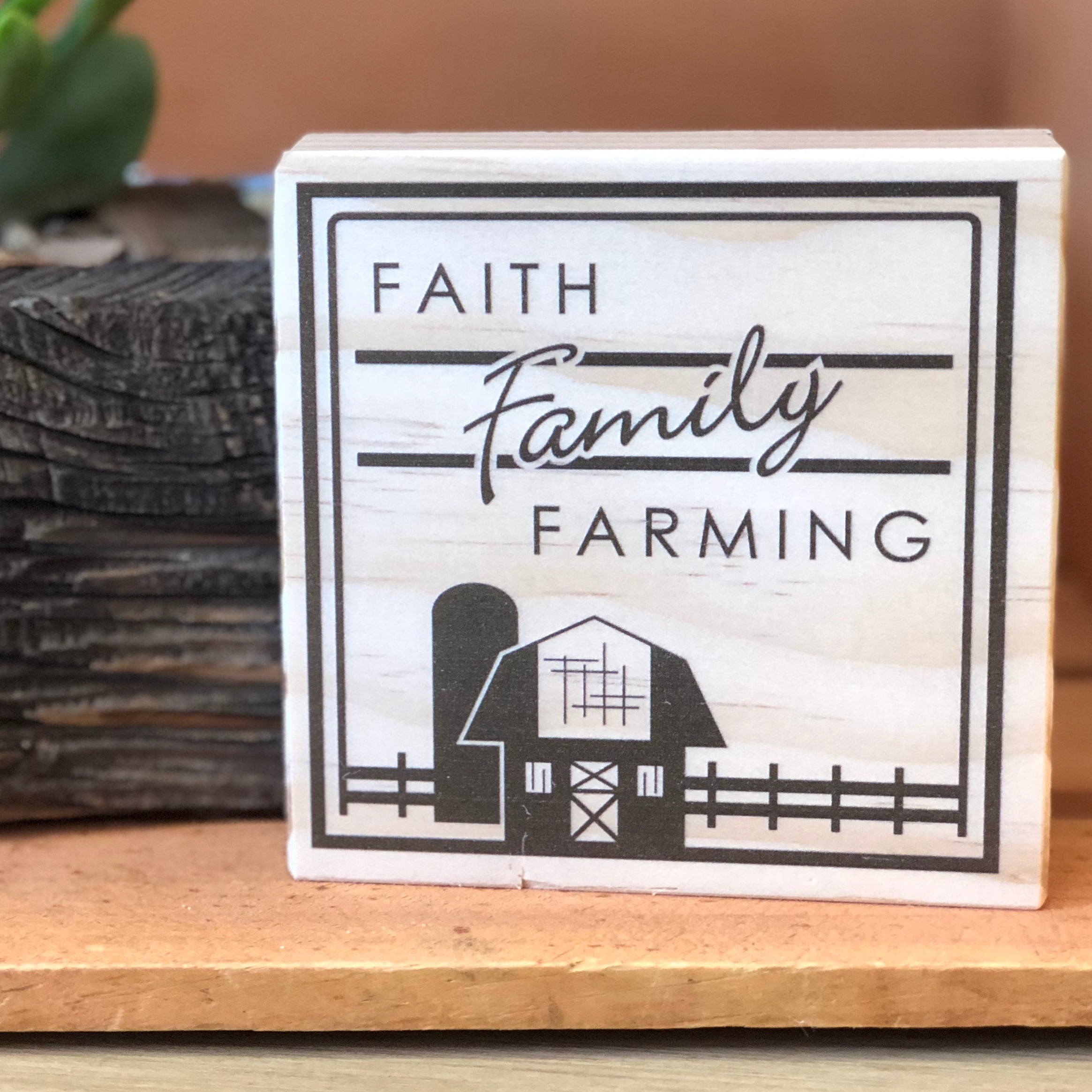 Faith Family Farming Shelf Sign