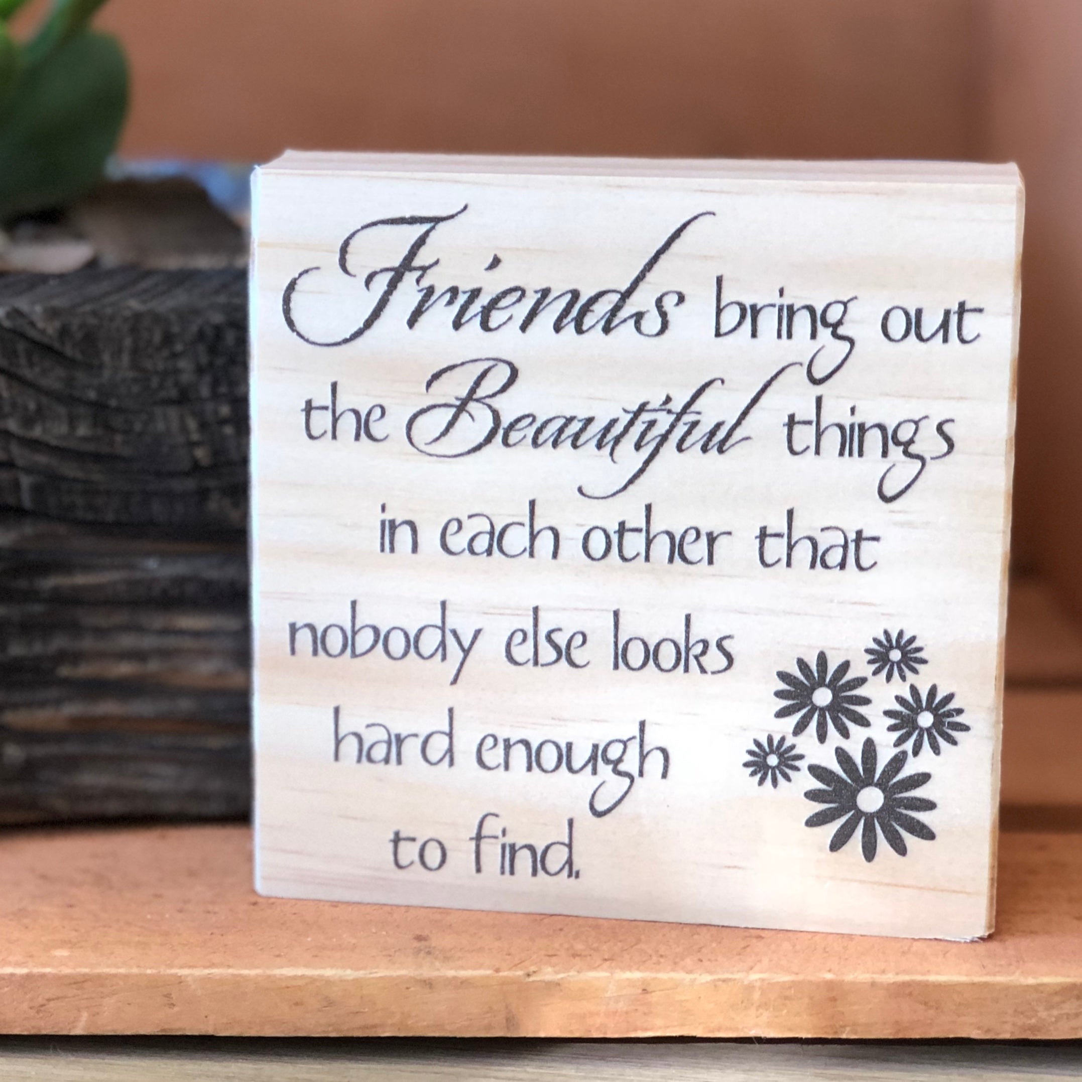 Friends bring out the Beautiful Things Shelf Sign