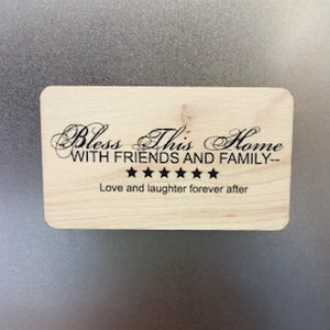 Bless this Home Wooden Magnet