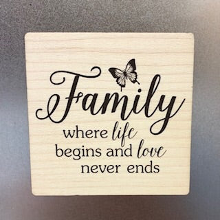 Where Life Begins and Love Never Ends Wooden Magnet