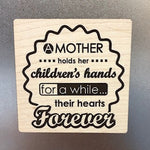A Mother Holds Her Children's Hands Wooden Magnet