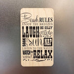 Beach Rules Wooden Magnet