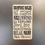 Camping Rules Wooden Magnet