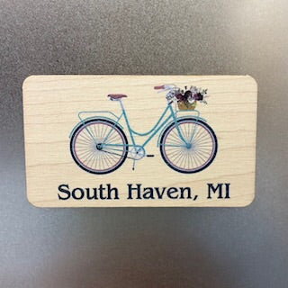 South Haven, MI bicycle Wooden Magnet