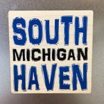 Blue South Haven Wooden Magnet