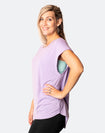 side view of active happy mum wearing a relaxed fit lavender tee with wide armholes for breastfeeding