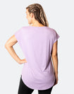 back view of active mum wearing a relaxed fit lavender tee with wide armholes for breastfeeding