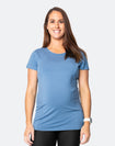 pregnant active mum wearing a blue breastfeeding t-shirt