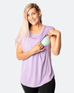 front view of mum showing nursing function of relaxed lavender tee