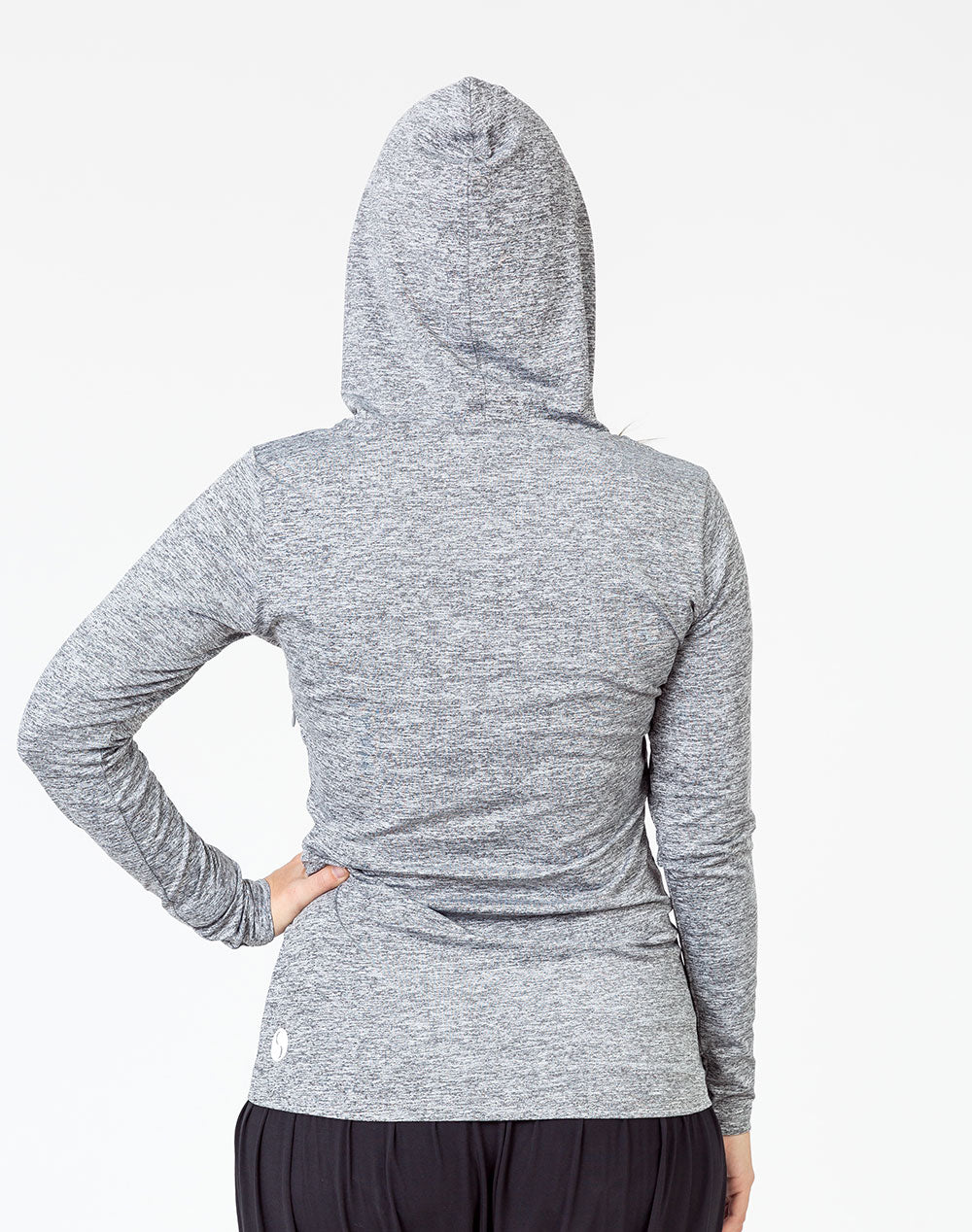 back view of a pregnant mum wearing a grey breastfeeding hoodie with the hood up