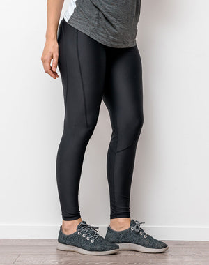 active mum wearing black full length maternity leggings to yoga