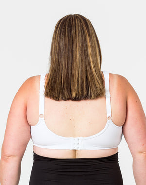 back view of a mum wearing a plus size nursing bra with thick bra straps for optimal support