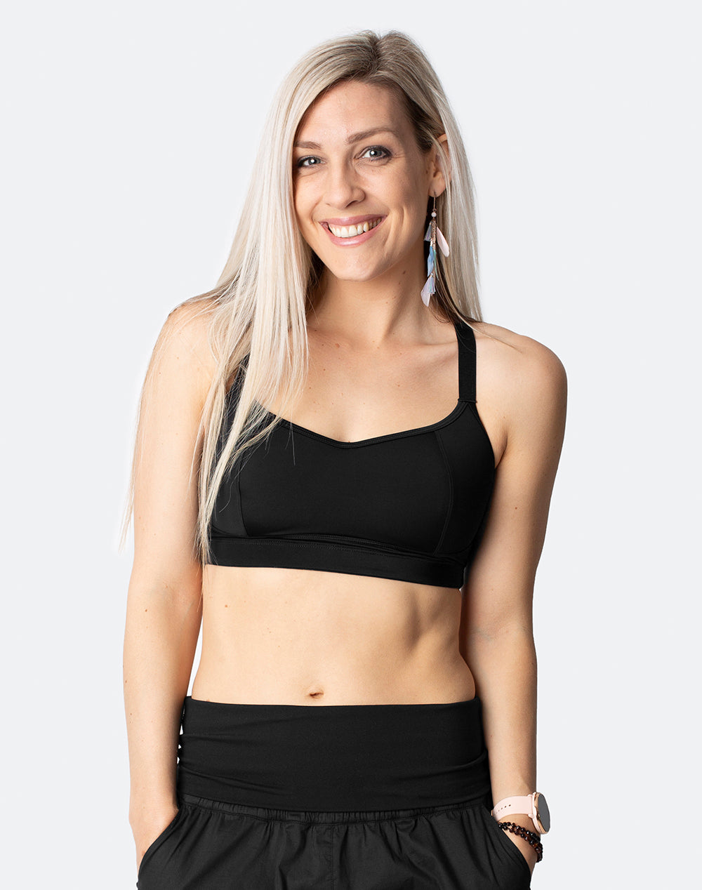 High Impact Racerback Sports Bra  - Fit2Feed Bra Black