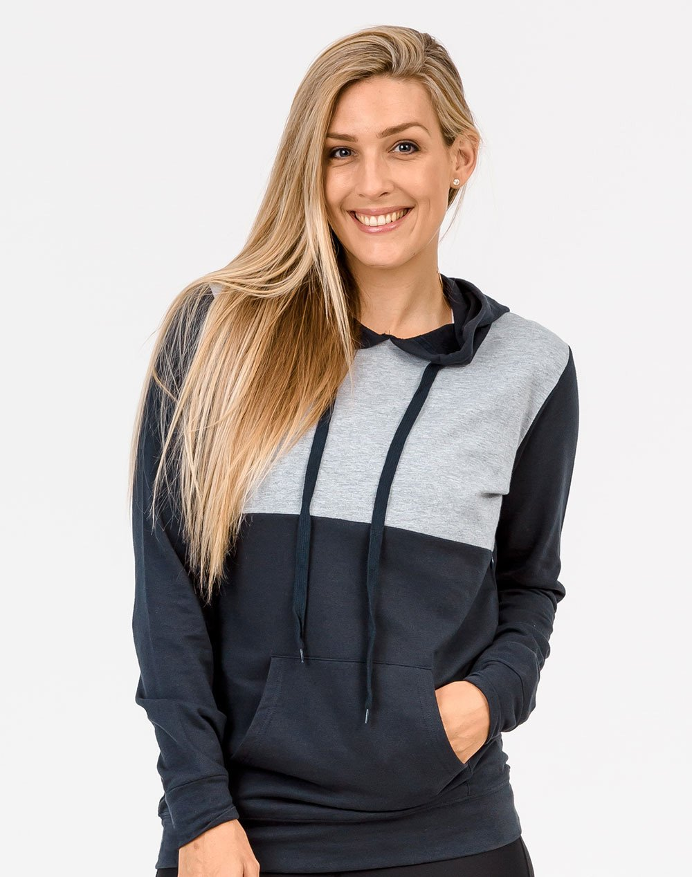 front view of a mum unzipping one invisible zip on a breastfeeding hoodie with Cadenshae bra