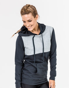 active mum wearing a slate colour casual breastfeeding hoodie