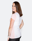 rear view of pregnant woman wearing a breastfeeding t-shirt