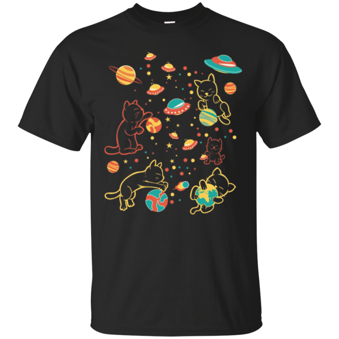 Cats in space planets solar system random odd funny kitty
