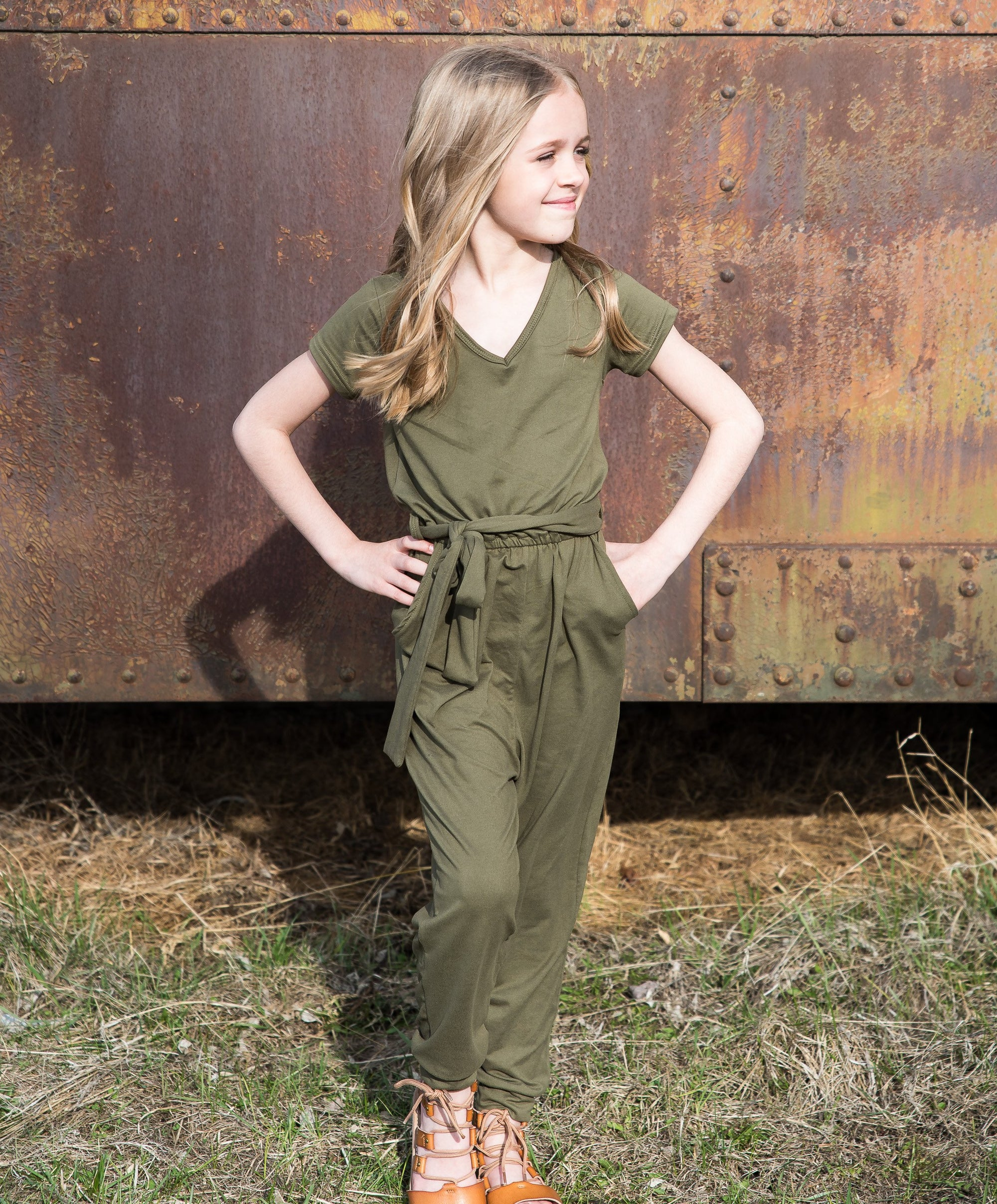 Jesse Girls Jumpsuit with Pockets in Hunter Green Duckthreads