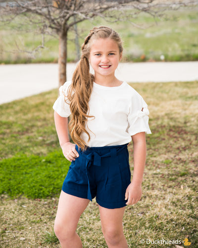 EDINA SASH SHORTS - Navy
