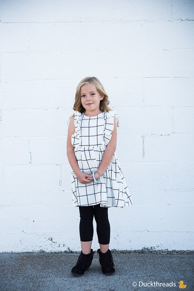 Emerson Flutter Sleeve A-Line Dress for Little Girls