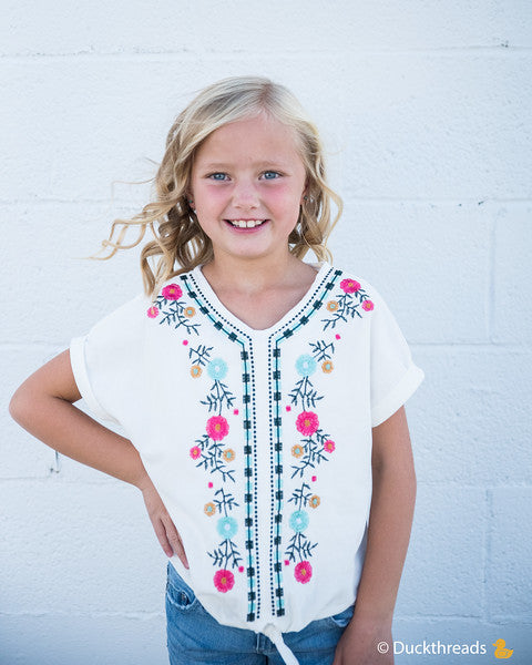 Hallie Multi-color embroidered tee Duckthreads